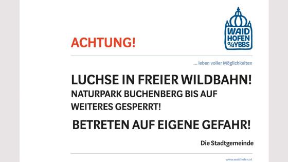Luchs-Warnung der Stadtgemeinde Waidhofen