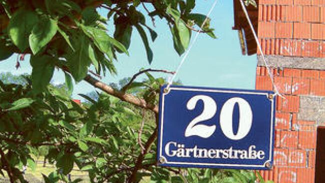 Tafel mit Hausnummer an einem Baum vor einem Rohbau