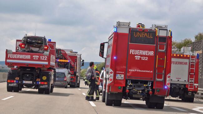 7 Verletzte nach Verkehrsunfall auf der A2 Südautobahn