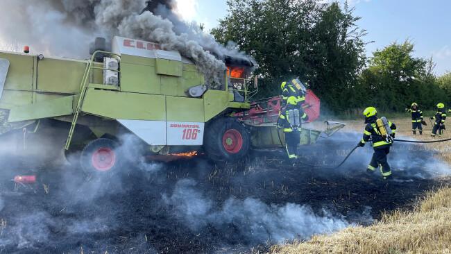 Mähdrescherbrand in Immendorf
