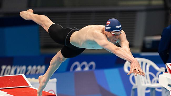 Start in sein zweites Olympiafinale - Felix Auböck über 800 m Kraul 7.
